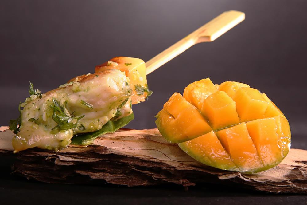 Volaille au gingembre et cube de mangue